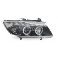E90  Фара левая+правая (КОМПЛЕКТ) тюнинг линзованная (DEVIL EYES) с светищимся ободком (JUNYAN) внутри черная