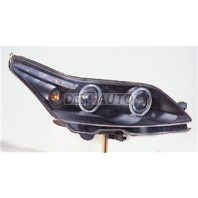 C4  Фара левая+правая (КОМПЛЕКТ) тюнинг линзованная с 2 светящимися ободками с регулирующим мотором (SONAR) внутри черная