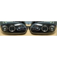 Фара левая+правая (комплект), тюнинг, линзованная, с 2 светящимися ободками (SONAR), внутри черная на Ford Escort
