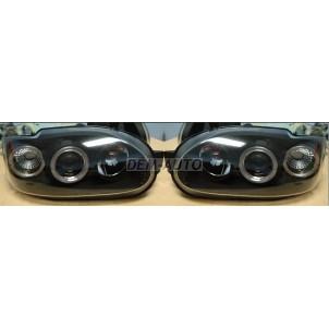 Escort  Фара левая+правая (комплект), тюнинг, линзованная, с 2 светящимися ободками (SONAR), внутри черная для Ford Escort -V