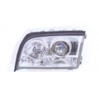 W140 Фара левая тюнинг линзованная прозрачная хрустальная внутри хромированная