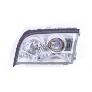 W140 Фара правая тюнинг линзованная прозрачная хрустальная внутри хромированная