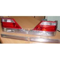 W140 Фонарь задний внешний левый+правый (комплект) с центральным молдингом тюнинг хрустальный бело-красный