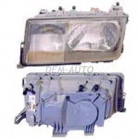 W201 Фара левая линзованная прозрачная внутри хромированная