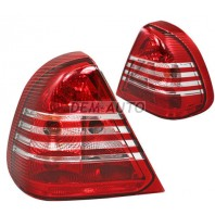 W202 Фонарь задний внешний левый+правый (комплект) тюнинг прозрачный хрустальный красно-белый