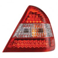 W202 Фонарь внешний левый+правый (комплект) тюнинг прозрачный хрустальный с диодным габаритом, стоп-сигналом (EAGLE EYES) внутри красно-белый