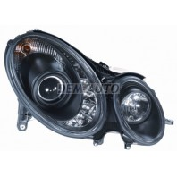 W211 Фара левая+правая (комплект) тюнинг линзованная (DEVIL EYES) (SONAR) внутри черная