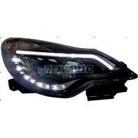 Corsa  Фара левая+правая (КОМПЛЕКТ) тюнинг линзованная с светящимся секциями (DEVIL EYES) с регулирующим мотором внутри черная