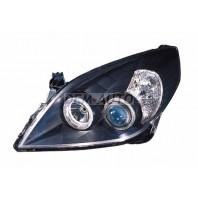 Vectra Фара левая+правая (комплект) под корректор линзованная с 2 светящимися ободками внутри черная