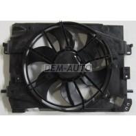 {(SANDERO 14-)} Мотор+вентилятор радиатора охлаждения с корпусом (Китай)