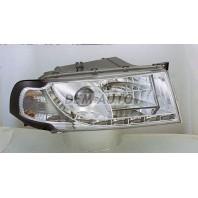 Octavia  Фара левая+правая (комплект) тюнинг линзованная (DEVIL EYES),литой указатель поворота с противотуманкой (SONAR) внутри хром