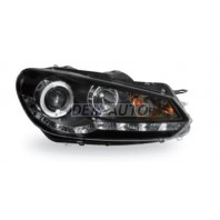 Golf  Фара левая+правая (комплект) тюнинг линзованная (DEVIL EYES) с светящимся ободком регулировочным мотором(JUNYAN) внутри черная