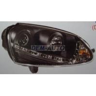 Golf  Фара левая+правая (комплект) тюнинг (DEVIL EYES) (КСЕНОН)линзованная (SONAR) внутри черная