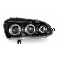 Golf  Фара левая+правая (комплект) тюнинг линзованная с светящимся ободком с регулировочным мотором (JUNYAN) внутри черная