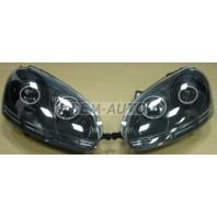 Golf {jetta 05-10} Фара левая+правая(комплект) тюнинг линзованная с светящимся ободком диодная с регулирующим мотором (EAGLE EYES) внутри черная
