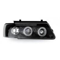 Passat  Фара левая+правая (комплект) тюнинг линзованная, с светящимся ободком литой указатель поворота (JUNYAN) внутри черная