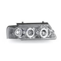 Passat  Фара левая+правая (комплект) тюнинг линзованная, с светящимся ободком литой указатель поворота (JUNYAN) внутри хром