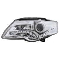 Passat  Фара левая+правая (комплект) тюнинг (DEVIL EYES) с светящимся ободком регулирующим мотором (EAGLE EYES) внутри хром