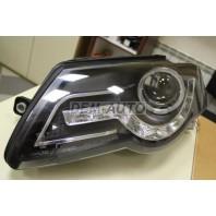 Passat  Фара левая+правая (комплект) тюнинг (DEVIL EYES)линзованная с светящимся ободком (JUNYAN) внутри черная