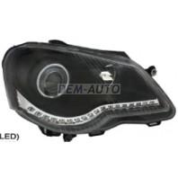Polo  Фара левая+правая (комплект) тюнинг (DEVIL EYES) с светящимся ободком диодная линзованная (EAGLE EYES) внутри черная