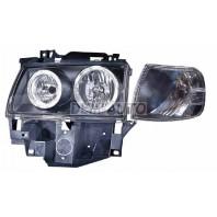 Transporter Фара левая+правая (комплект) тюнинг с 2 светящимися ободками с указателем поворота внутри черная