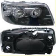 Transporter  Фара левая+правая (комплект) тюнинг линзованная с светящимся ободком с регулировочным мотором (DEPO)внутри черная