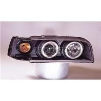 Фара левая+правая (КОМПЛЕКТ) тюнинг прозрачная с 2 светящимися ободками , указателем поворота (SONAR) внутри черная