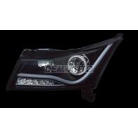 Cruze  Фара левая+правая (комплект), тюнинг, линзованная, со светящимся ободком, диодный указатель поворота, светящиеся секции (JUNYAN), внутри черная