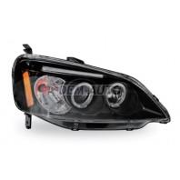 Civic  Фара левая+правая (комплект), тюнинг, линзованная, со светящимся ободком (JUNYAN), внутри черная