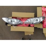 Civic  Фара левая+правая (комплект) тюнинг линзованная с светящимся ободком диодная +/ под корректор (EAGLE EYES) внутри хромированная
