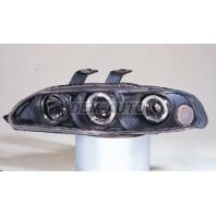 Civic  Фара левая+правая (комплект), тюнинг (3 дв), линзованная, с 2 светящимися ободками (SONAR), внутри черная
