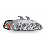 Civic  Фара левая+правая (комплект), тюнинг (3 дв), линзованная, со светящимся ободком (JUNYAN), внутри хромированная