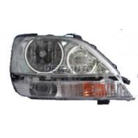 Rx300  Фара левая+правая (комплект), тюнинг, с 2 светящимися ободками, внутри черно-серая