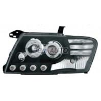 Pajero  Фара левая+правая (комплект) тюнинг линзованная со светящимся ободком с диодами (EAGLE EYES) внутри черно-хромированная