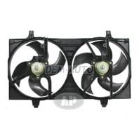 Almera {+ n16e/p12} Мотор+вентилятор радиатора охлаждения двухвентиляторный с корпусом под кондиционер