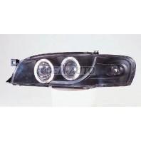 Impreza  Фара левая+правая (комплект) тюнинг линзованная с 2 светящимися ободками , литой указатель поворота (SONAR) внутри черная