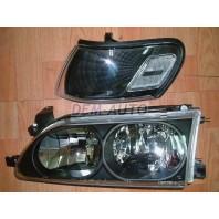 Corolla {ae101  Фара+указатель поворота левая+правая (комплект) тюнинг прозрачная хрустальная RHD внутри черная