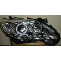 Corolla  Фара левая+правая (комплект) (седан) тюнинг линзованная (DEVIL EYES) с светящимся ободком +/- под корректор внутри хром