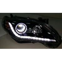 Corolla  Фара левая+правая (комплект) (седан) тюнинг линзованная (DEVIL EYES) с диодным светящимся ободком +/- под корректор внутри черная