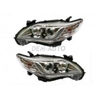 Corolla  Фара левая+правая (комплект) (седан) тюнинг линзованная (DEVIL EYES) с диодным светящимся ободком +/- под корректор внутри хром