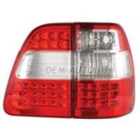 Landcruiser  Фонарь задний внешний+внутренний левый+правый (комплект) тюнинг прозрачный с диодным габаритом,стоп сигналом (DEPO) бело-красный
