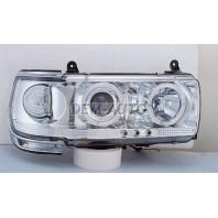 Landcruiser  Фара левая+правая (комплект) тюнинг прозрачная с 2 светящимися ободками,литой указатель поворота (SONAR)черный молдинг внутри хром