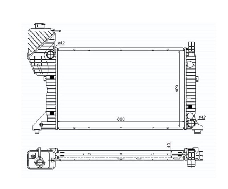 Радиатор охлаждения 208D/210D/212D/214/308D/310D/312D/314/408D/410D/412D/414 MT